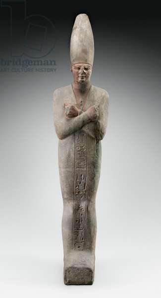 Osiride Statue of King Mentuhotep III re-inscribed for King Merenptah, Middle Kingdom, Dynasty 11, reign of Sankhkare M, 2010-–1998 B.C. (sandstone)