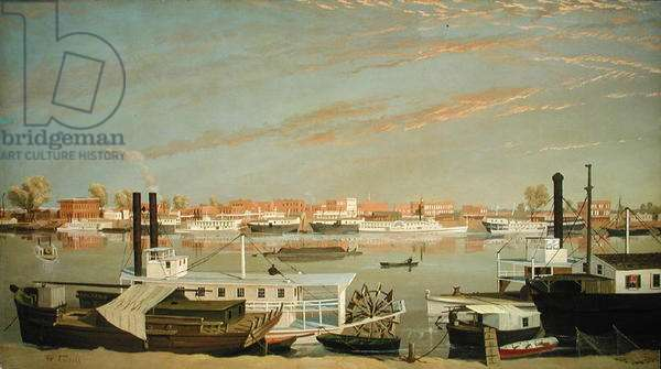 View of Sacramento, California from across the Sacramento River, 1855 or after (oil on canvas)