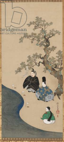 Misogi (Purification Ritual) from the Tales of Ise, 1810-15 (ink, colour, gold & silver on silk)