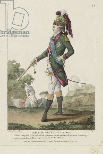 Uniform of a Colonel in the Artois Dragoons, from 'Gallerie des Modes et Costumes Francais', engraved by Nicolas Dupin, published by Esnauts et Rapilly, Paris, 1778 (hand-coloured engraving)