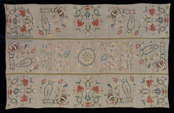 Bedcover, 18th or –19th century (linen plain weave, embroidered with silk)
