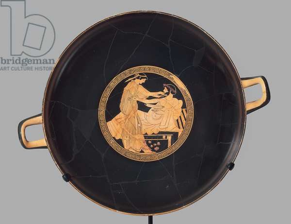 Symposium scene, interior, drinking cup, Late Archaic Period, c.490-480 BC (kylix)