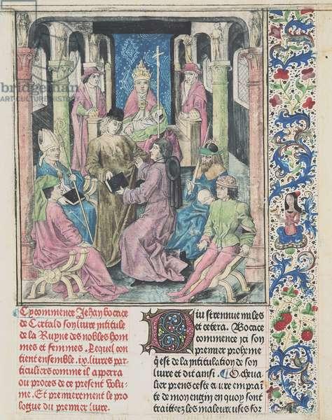 Illustration from 'De la Ruine des Nobles Hommes et Femmes', by Giovanni Boccaccio (1313-75) published by Colard Mansion (hand-coloured engraving)