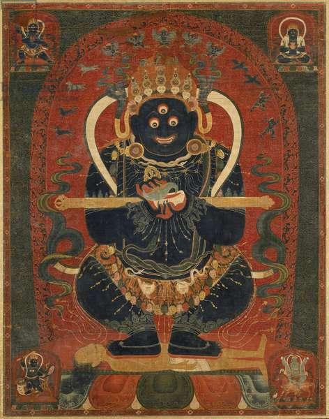 Mahakala as Panjaranatha (distemper on cotton, mounted with silk brocade)