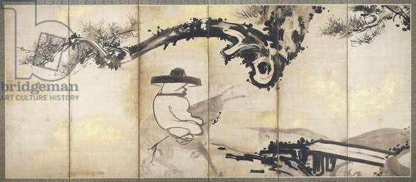 The Four Sages of Mount Shang, one of a pair of six-panel folding screens, Edo Period, c.1768 (ink & gold on paper) (see also 195384)
