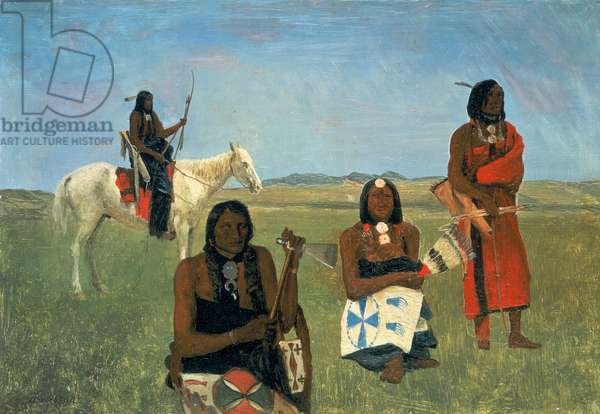 Indians near Fort Laramie, c.1859 (oil on paper mounted on paperboard)