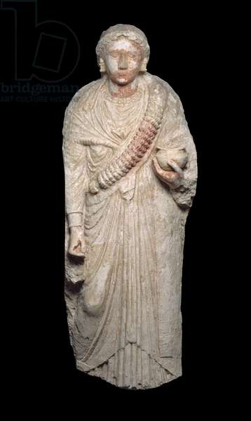 Portrait stele of a woman, Greco-Roman Period, 3rd to early 4th century A.D. (limestone with traces of paint)