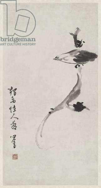 A Strange Bird, Homage to Bada Shanren, Qing Dynasty (ink on paper)