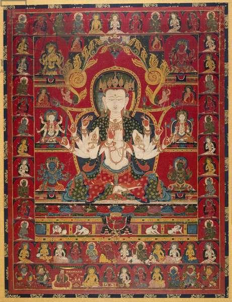 Five Protective Goddesses (Pancaraksha) (opaque w/c on cotton)