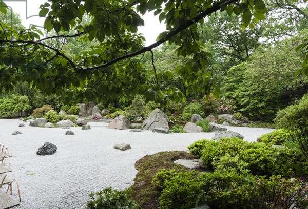 Floating rocks in the Tenshin-en Japanese Garden, Museum of Fine Arts, Boston, USA (photo)