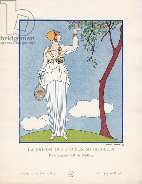 'La Saison des Prunes Mirabelles - Robe d'apres-midi de Redfern', plate 48 from 'Gazette du Bon Ton', Volume I, no.5, May 1914 (pochoir print)