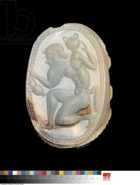 Scarab with Satyr, Late Archaic Period (chalcedony)