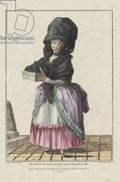 Seller of Fashions, from 'Gallerie des Modes et Costumes Francais, 7e Cahier des Costumes Francaises, 1ere Suite d'Habillemens de Femmes a la mode', engraved by Nicolas Dupin, published by Esnauts et Rapilly, Paris, 1778 (hand-coloured engraving)