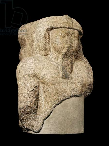 Head and shoulders from a colossus of Ramesses II, New Kingdom, Dynasty 19, reign of Ramesses II, 1279–-1213 B.C. (granite)