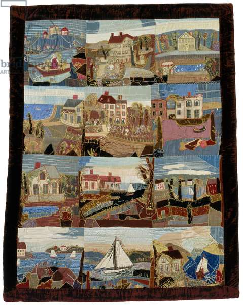Crazy quilt, 1875–-1900 (silk plain weave, velvet & satin, pieced and embroidered)