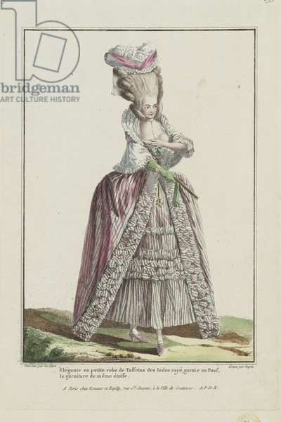 Elegant Woman in pin-striped Dress of Indian Taffeta, from 'Gallerie des Modes et Costumes Francais, 9e Cahier des Costumes Francaises, 3e Suite d'Habillemens de Femmes a la mode', engraved by Nicolas Dupin, published by Esnauts et Rapilly, Paris, 1778 (hand-coloured engraving) (see 263898)