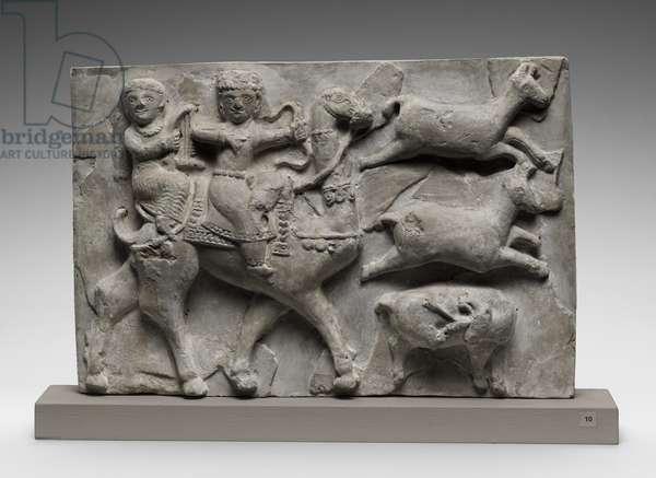 Plaque, Sasanian, 226-651 (stucco)