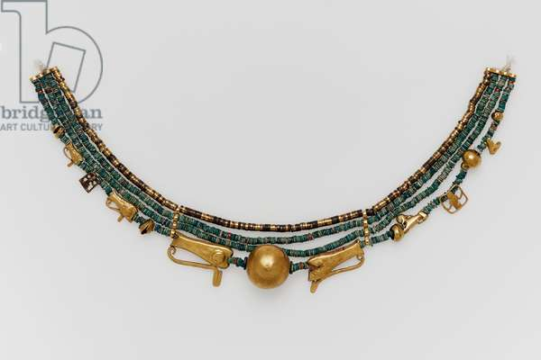 Beaded collar with amulets, Middle Kingdom, Dynasty 11-–13, 2061-–1640 B.C. (glazed steatite gold electrum)