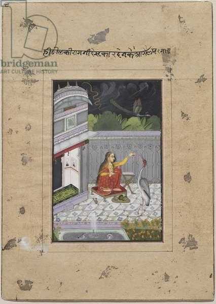 Desakar Ragini, c.1760 (opaque w/c, gold & silver on paper)