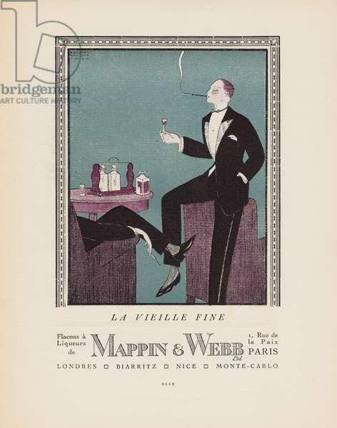 'La Vieille Fine - Flacons a Liqueurs de Mappin & Webb, Ltd.', advertisement from Gazette du Bon Ton, Volume 2, no.6, p.XLIX, July 1920 (pochoir print)