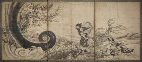 Transcendent Attacking a Whirlwind, c.1764 (ink & light gold on paper)
