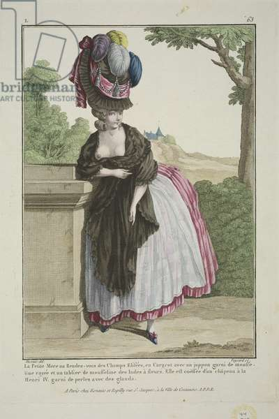 The Little Mother at the rendezvous in Champs Elysees, from 'Gallerie des Modes et Costumes Francais', engraved by Nicolas Dupin, published by Esnauts et Rapilly, Paris, 1778 (hand-coloured engraving)