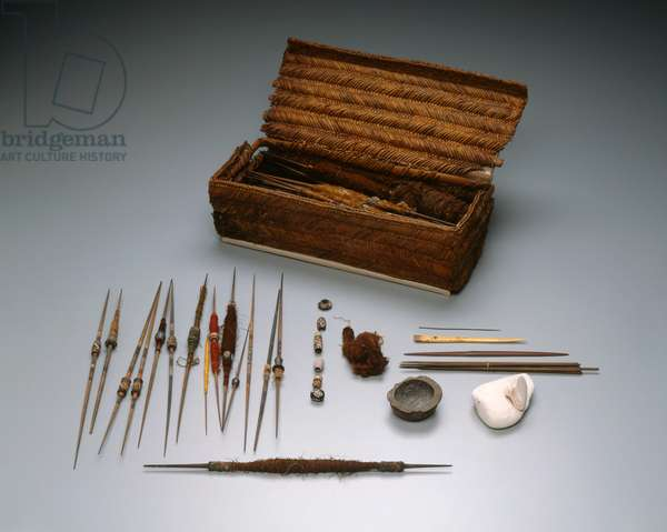 Weaver's workbasket and implements, Intermediate Period, c.1000-–1476 (wood, reed, cane, cotton, ceramic & bone)