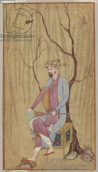 An Elegant Man Seated under a Willow Tree, Mughal Period, 1600-05 (w/c & gold on paper)