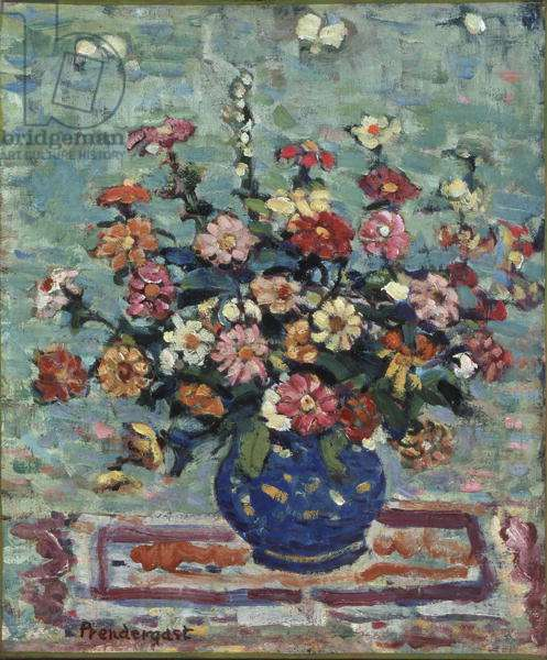 Flowers in a Blue Vase, c.1910-13 (oil on canvas)