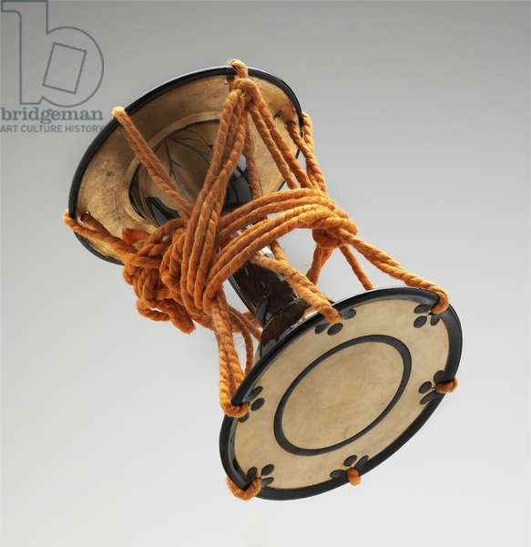 Drum, c.1925 (wood covered in black lacquer with gold maki-e lacquer & shell, lead, leather & silk cords)