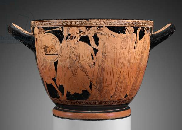 Drinking cup with the departure and recovery of Helen, Late Archaic Period (ceramic)