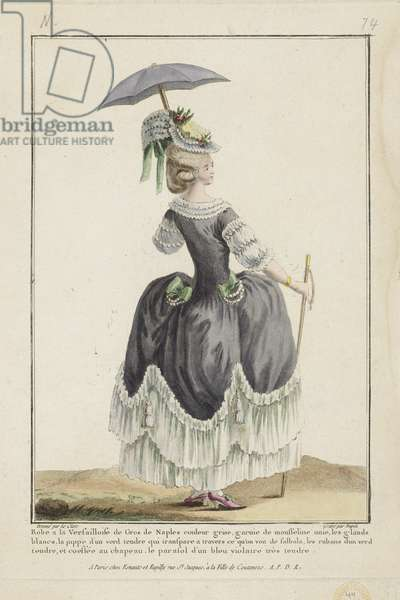 Versailles Dress, from 'Gallerie des Modes et Costumes Francais' engraved by Nicolas Dupin, published by Esnauts et Rapilly, Paris, 1778 (hand-coloured engraving)
