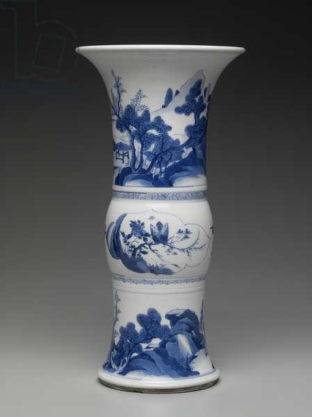 Gu-shaped vase with blue-and-white decoration of landscape (porcelain)