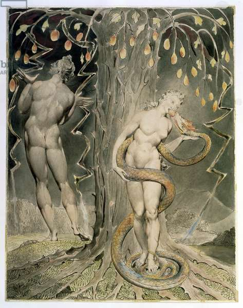 The Temptation and Fall of Eve (Illustration to Milton's 'Paradise Lost') 1808 (pen & watercolour on paper)