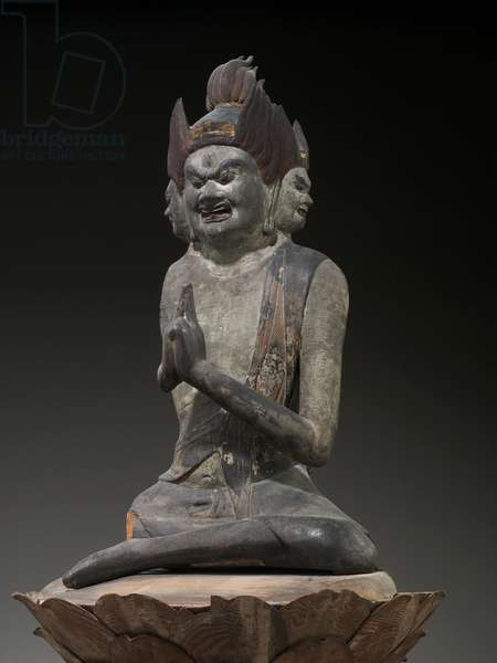 Daiitoku myoo, the Wisdom King of Great Awe-inspiring Power (Japanese cypress with polychrome & gold)