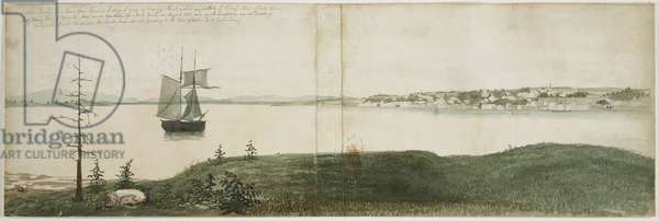 Castine Harbor and Town, August 1851 (w/c over graphite on cream wove paper)