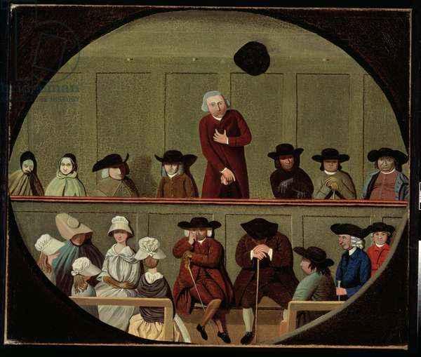 Quaker Meeting (oil on canvas)