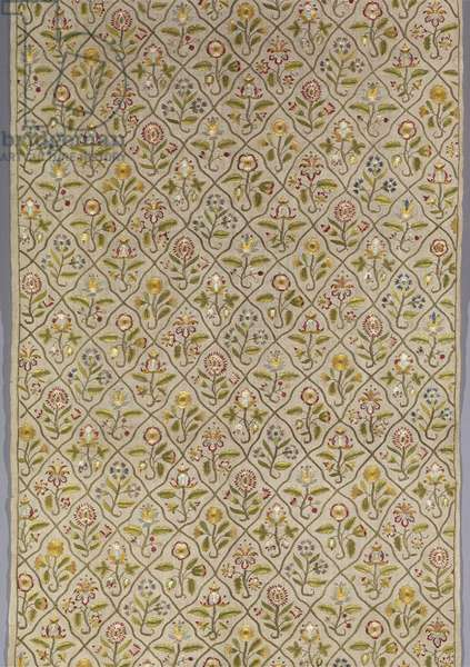 Part of a Long Cover, early 17th century (embroidered linen plain weave)