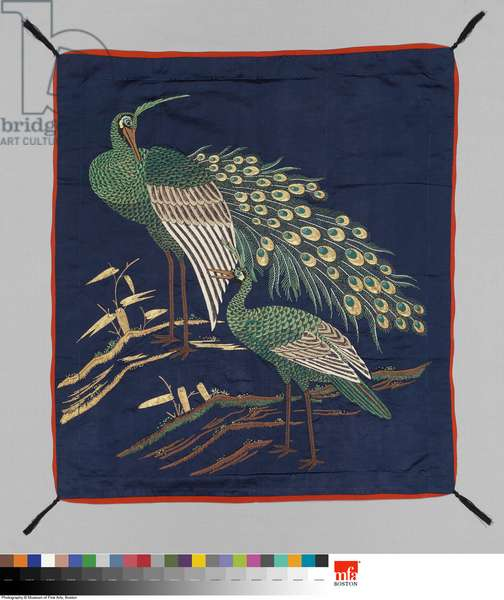Gift cover (fukusa), late 19th century (silk, embroidery, glass)