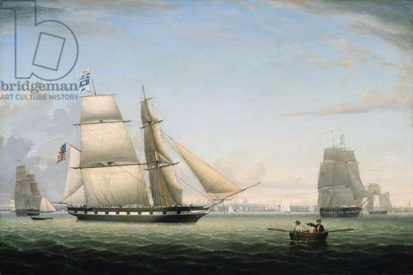 Brig 'Antelope' in Boston Harbor, 1863 (oil on canvas on board)