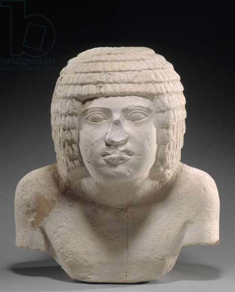 Head and upper torso of a man, Old Kingdom, Dynasty 3, 2649-–2575 B.C. (limestone)