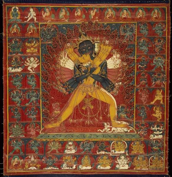 Kalacakra Deity in Yab-Yum Position with Vivamata (opaque w/c on cotton)
