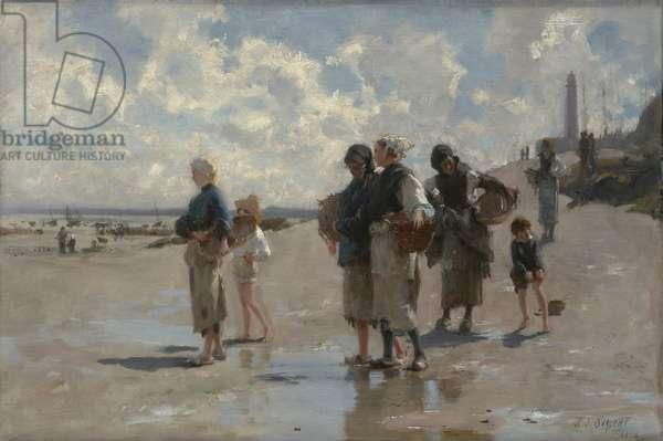 Fishing for Oysters at Cancale, 1878 (oil on canvas)