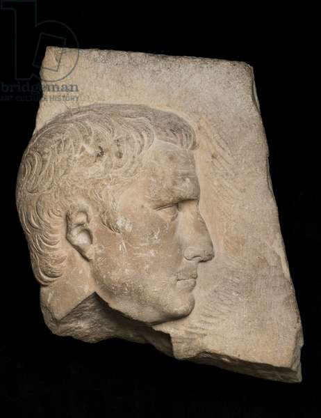 Relief with a portrait of Agrippa, c.10 BC - 14 AD (marble)