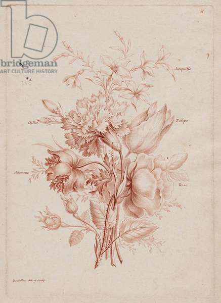 Bouquet of Rose, Anemone, Carnation, Tulip and Jonquil, c.1780-1800 (engraving)