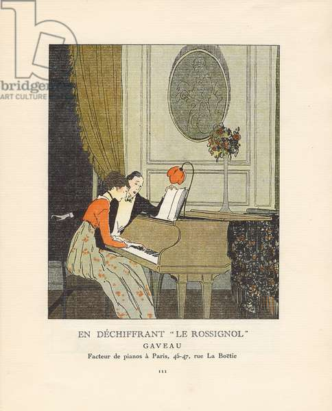 'En dechiffrant 'Le Rossignol' ', advertisement from 'Gazette du Bon Ton', Volume I, no.6, p.111, June 1914 (colour litho)