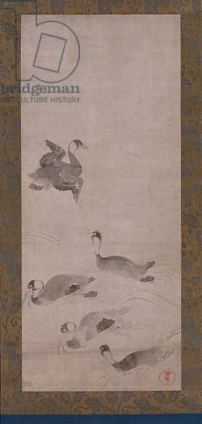 Waterfowl, one of a pair of hanging scrolls, Edo period (ink on paper) (see also 263977)