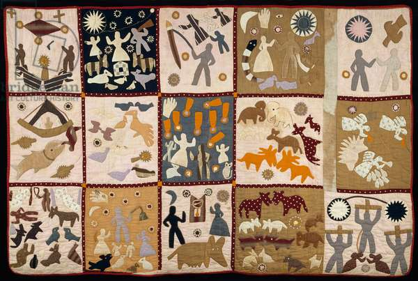 Pictorial quilt, 1895-–98 (cotton plain weave, pieced, appliqued, embroidered & quilted)