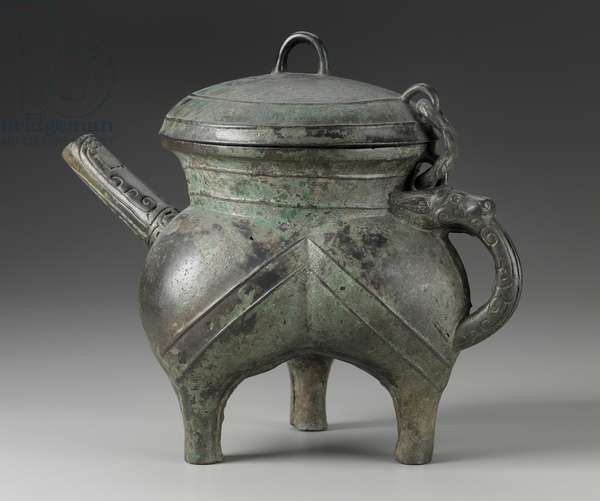 Ritual wine vessel with chained cover (He), 10th - 9th century BC (bronze)