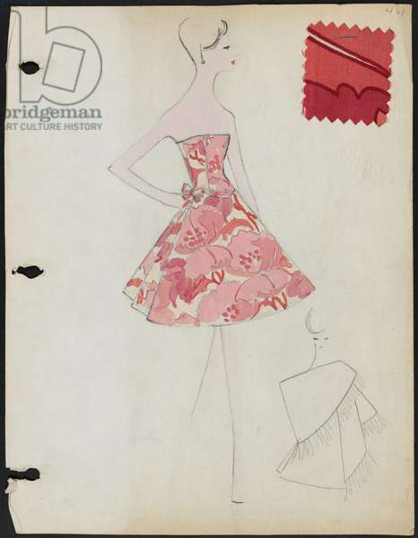 Page from sketchbook, Spring 1961, 1961 (w/c & pencil on paper with fabric)